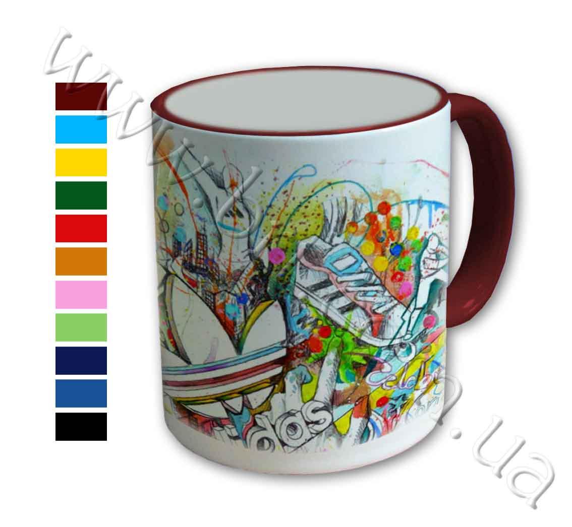 Чашка Адидас с цветной ручкой и каймой, чашки с лого, чашки с фирменной...
