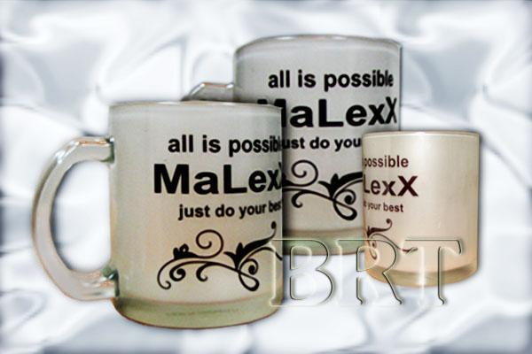 Чашка сувенирная стеклянная матовая